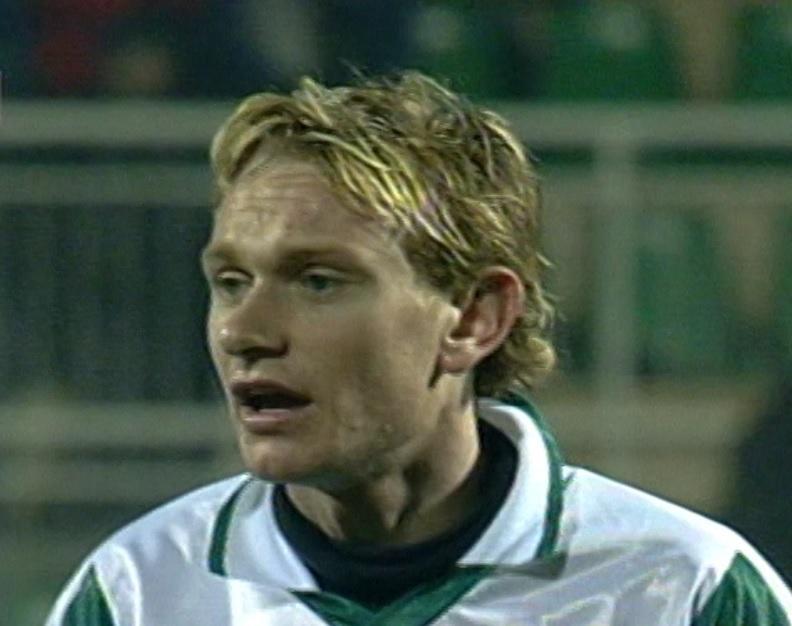 Sebastian Mila podczas meczu Groclin Dyskobolia Grodzisk Wielkopolski - Girondins Bordeaux 0:1 (26.02.2004).