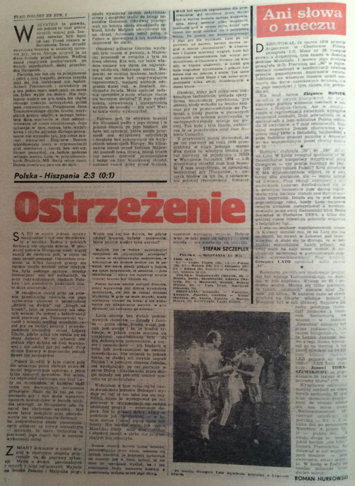Piłka Nożna po Polska – Hiszpania 2:3 (18.11.1981) 2