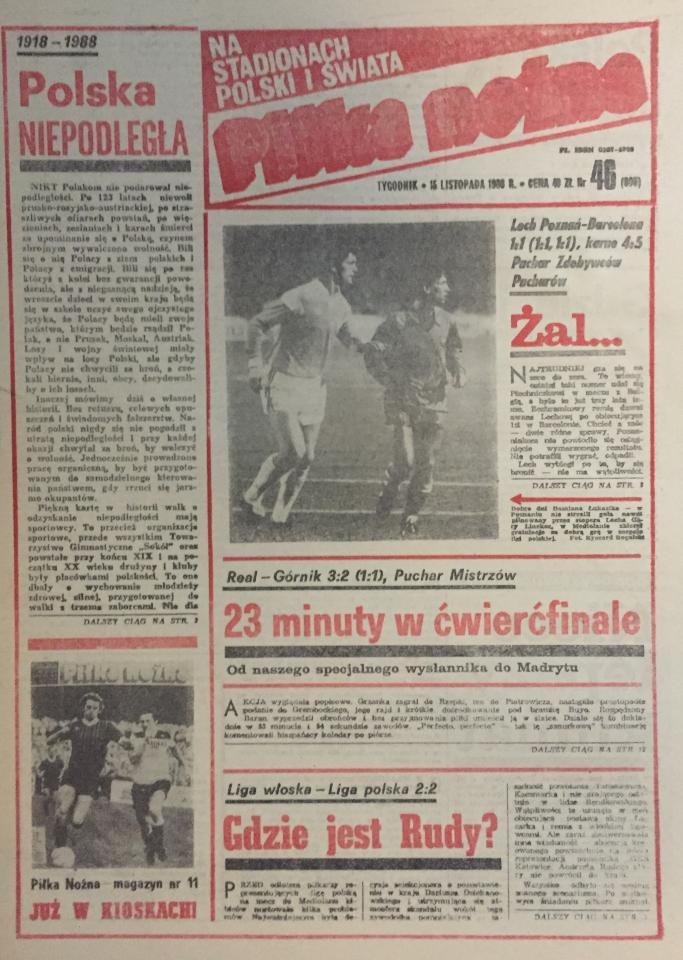 Piłka Nożna po Liga Włoska - Liga Polska 2:2 (12.11.1988) 1