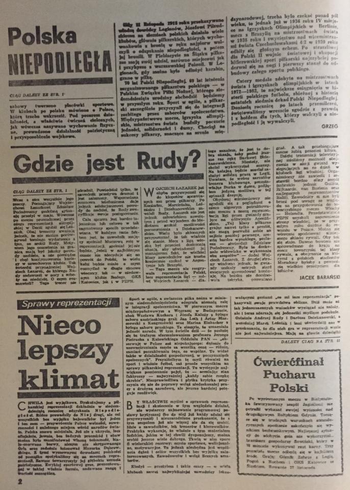 Piłka Nożna po Liga Włoska - Liga Polska 2:2 (12.11.1988) 2