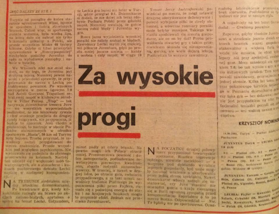 Piłka Nożna po Juventus - Lechia 7:0 (14.09.1983) 2