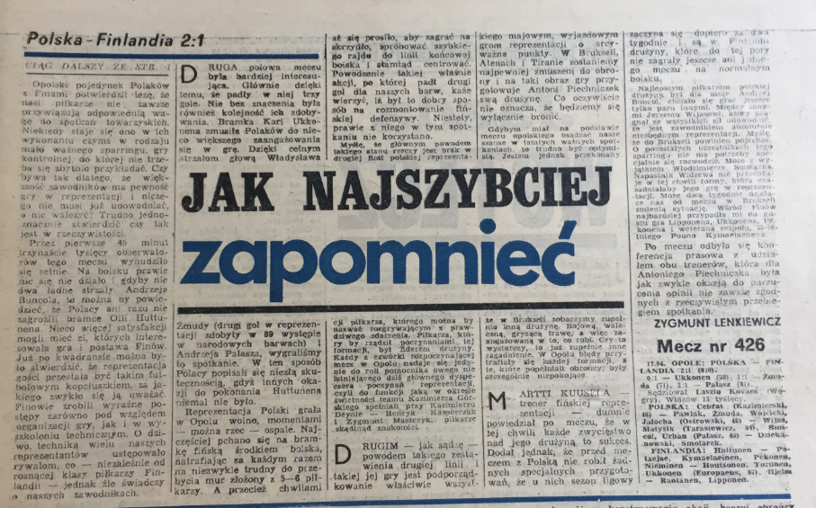 piłka nożna po meczu polska - finlandia (17.04.1985)