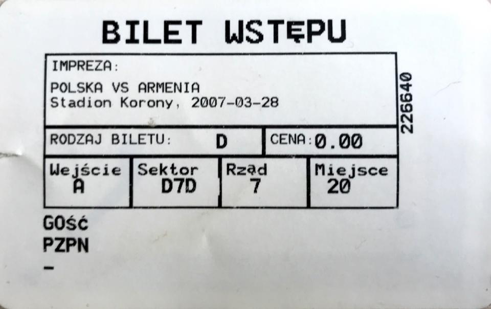 Bilet z meczu Polska – Armenia 1:0 (28.03.2007).