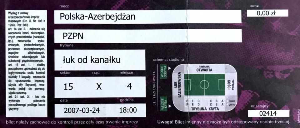 Bilet z meczu Polska – Azerbejdżan 5:0 (24.03.2007).
