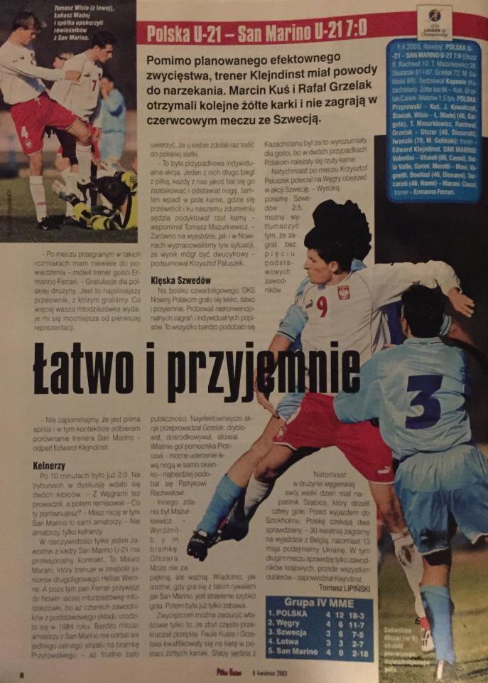 Polska - San Marino 7:0 U-21 (01.04.2003) Piłka Nożna