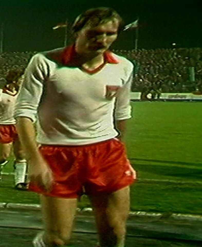 Roman Wójcicki podczas meczu Widzew Łódź – Borussia Mönchengladbach 1:0 (07.11.1984)