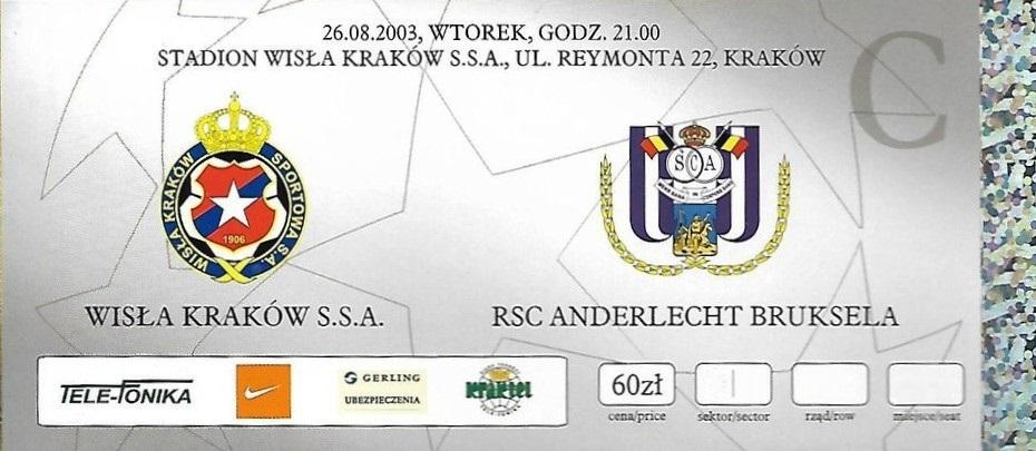 Bilet z meczu Wisła Kraków – Anderlecht 0:1 (26.08.2003).