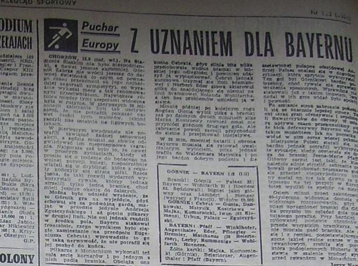 Przegląd Sportowy po Górnik Zabrze – Bayern Monachium 1:2 (18.09.1985) 2