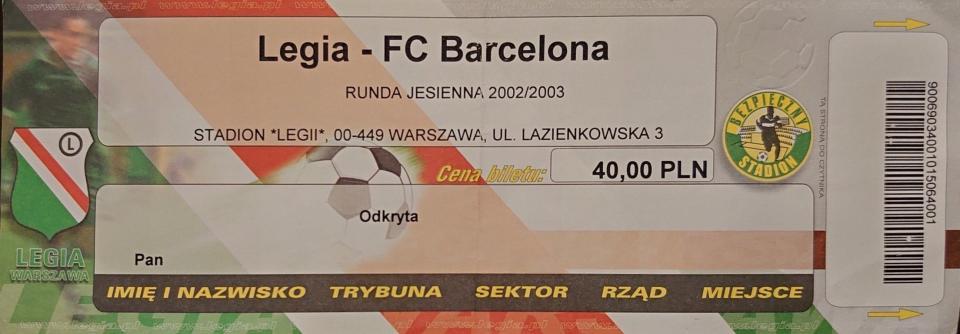 Bilet z meczu Legia Warszawa – FC Barcelona 0:1 (28.08.2002).
