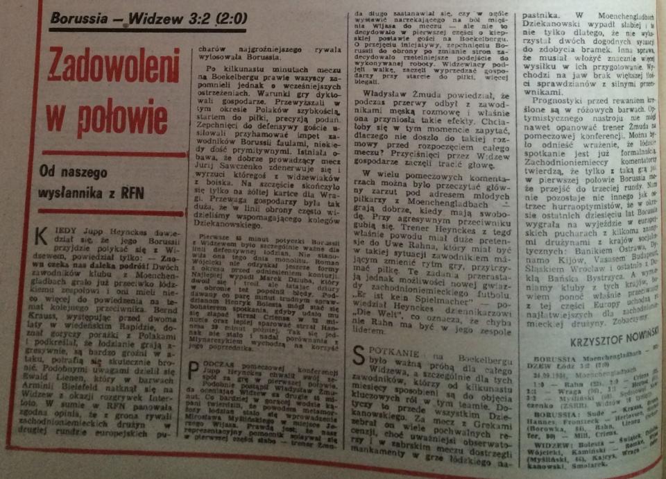 Borussia Mönchengladbach – Widzew Łódź 3:2 (24.10.1984) Piłka Nożna