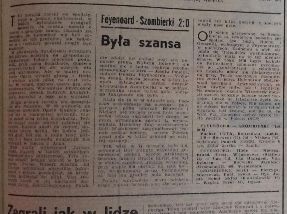 Piłka Nożna po Feyenoord - Szombierki 2:0 (16.09.1981)