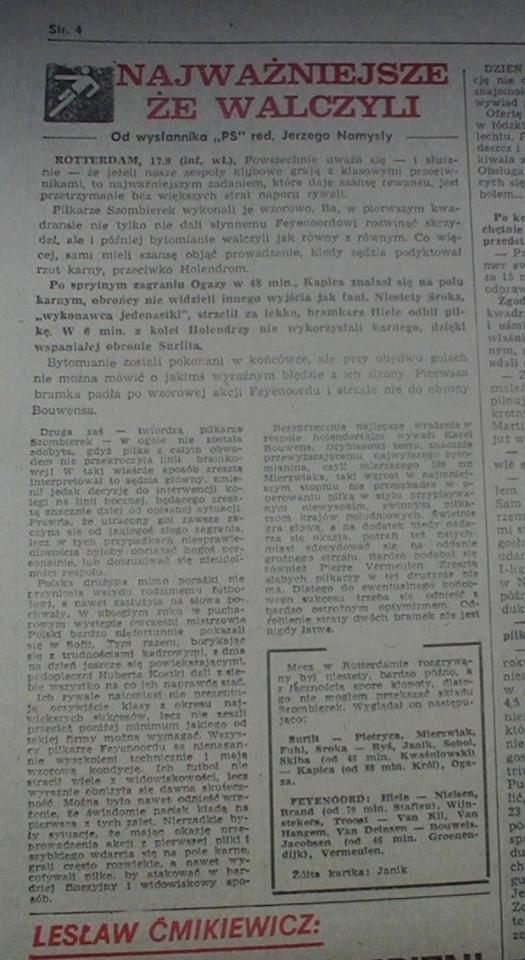 Przegląd Sportowy po Feyenoord - Szombierki 2:0 (16.09.1981)