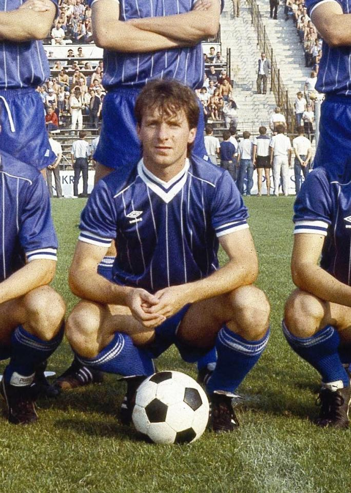 Mirosław Okoński podczas meczu Borussia Mönchengladbach – Lech Poznań 1:1 (18.09.1985)