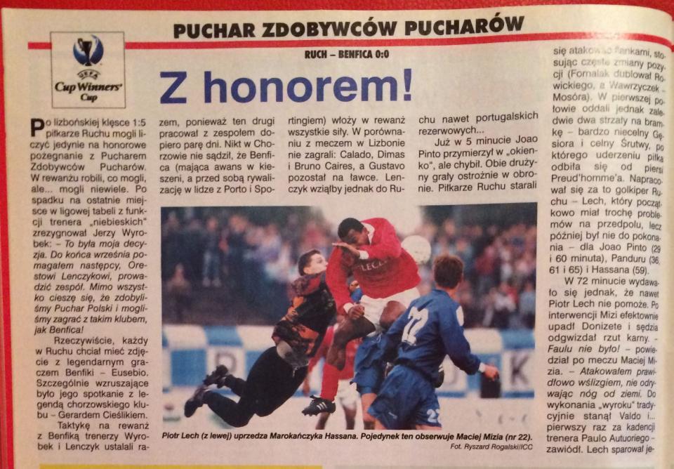 Ruch Chorzów – Benfica Lizbona 0:0 (26.09.1996) Piłka Nożna