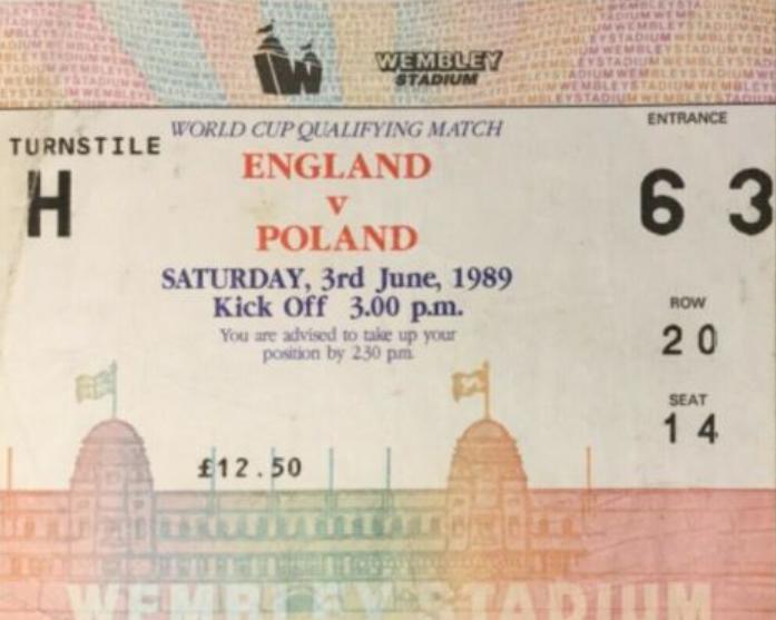 bilet z meczu anglia – polska (03.06.1989)