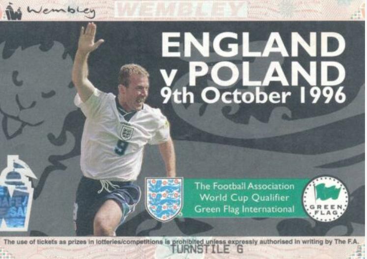 bilet z meczu anglia – polska (09.10.1996)