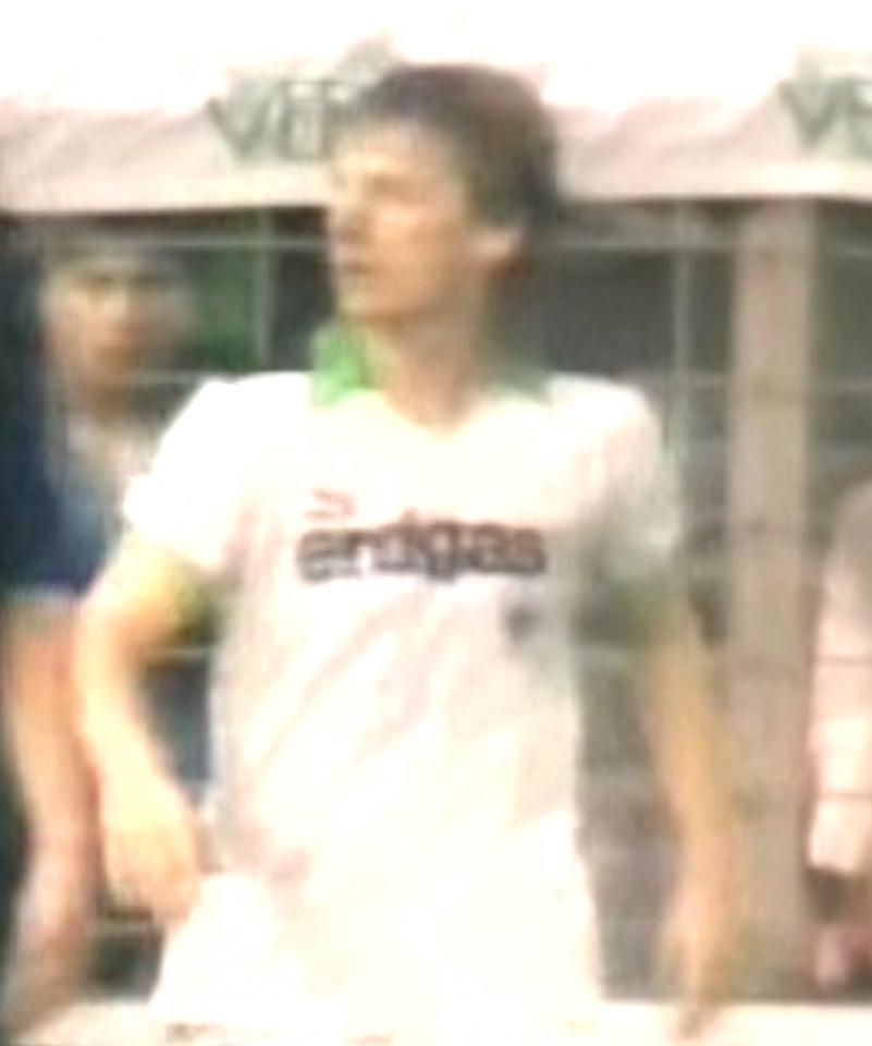 Frank Mill podczas meczu Borussia Mönchengladbach – Lech Poznań 1:1 (18.09.1985)