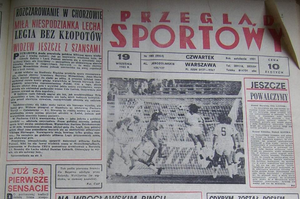 Borussia Mönchengladbach – Lech Poznań 1:1 (18.09.1985) Przegląd Sportowy