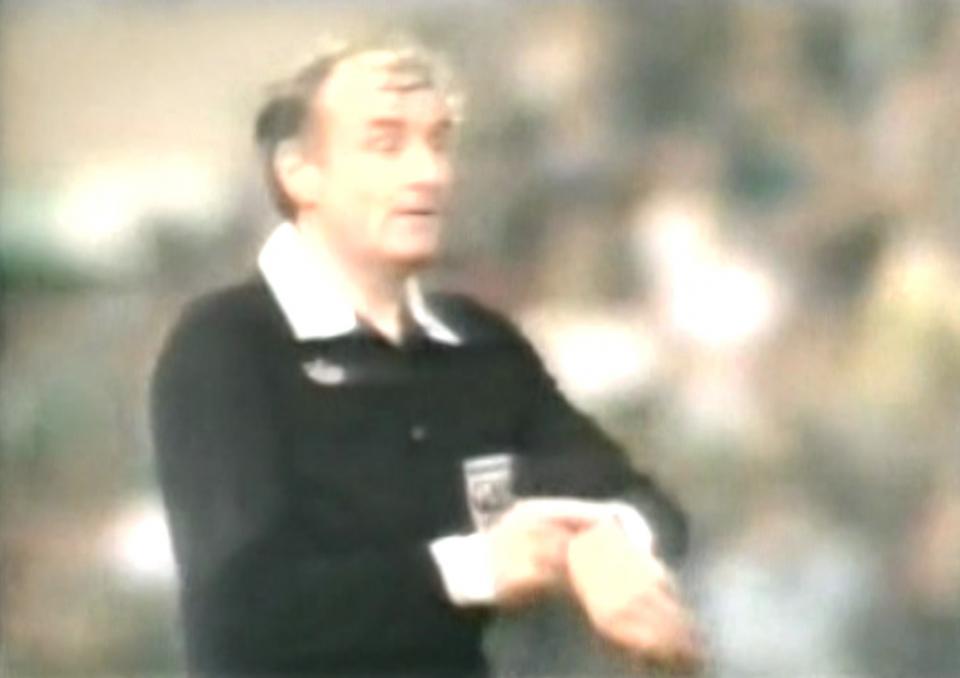 Sędzia Malcolm Moffatt podczas meczu Borussia Mönchengladbach – Lech Poznań 1:1 (18.09.1985)
