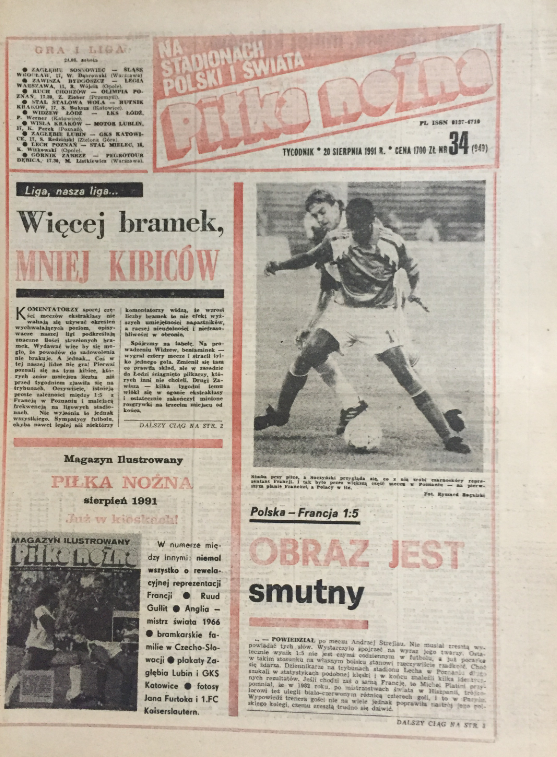 okładka piłki nożnej po meczu polska – francja (14.08.1991)