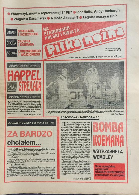 okładka piłki nożnej po meczu austria – polska (19.05.1992)