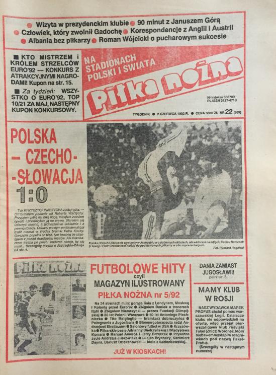 okładka piłki nożnej po meczu polska – czechosłowacja (27.05.1992)