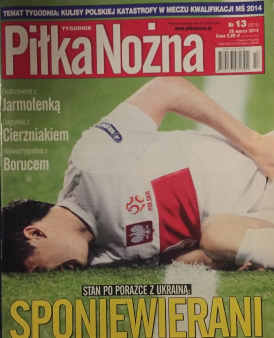 okładka piłki nożnej po meczu polska – ukraina (22.03.2013)