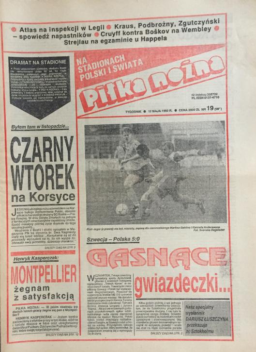 okładka piłki nożnej po meczu szwecja – polska (07.05.1992)