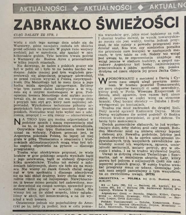 piłka nożna po meczu argentyna – polska (29,05.1977)
