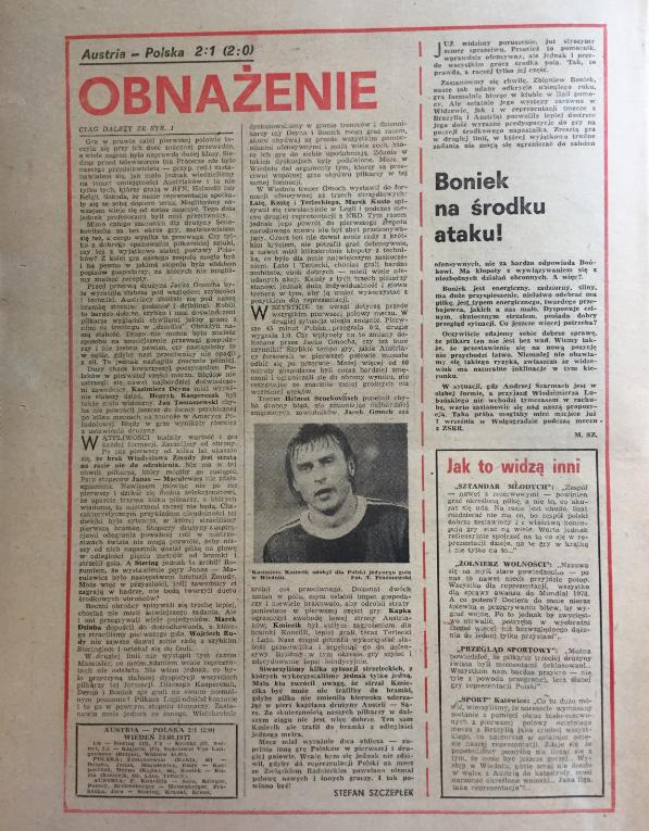 piłka nożna po meczu austria – polska (24.08.1977)