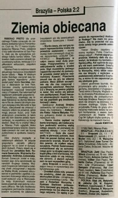 piłka nożna po meczu brazylia – polska (17.03.1993)