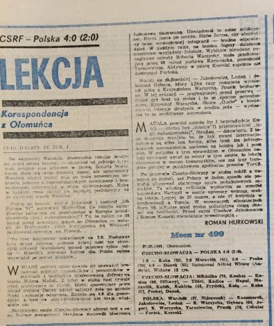 piłka nożna po meczu czechosłowacja – polska (27.03.1991)
