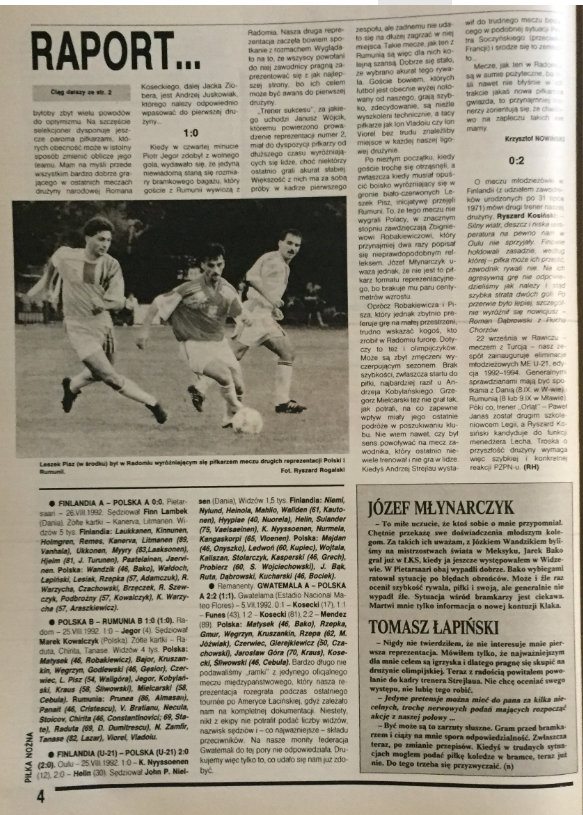 piłka nożna po meczu finlandia – polska (26.08.1992)