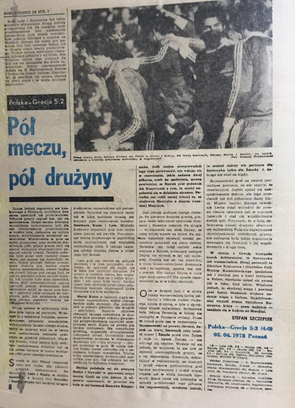 piłka nożna po meczu polska – grecja (05.04.1978)