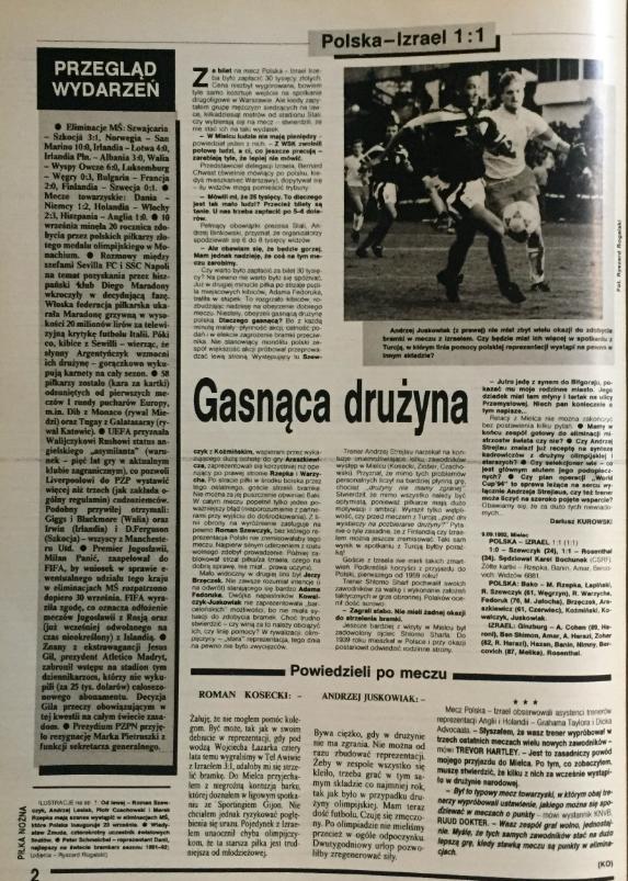piłka nożna po meczu polska – izrael (09.09.1992)