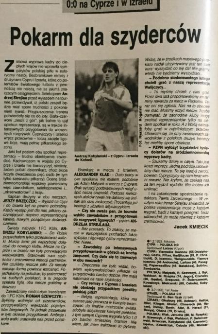 piłka nożna po meczach z cyprem i izraelem (1993)