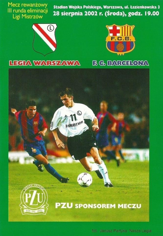 Program meczowy Legia Warszawa – FC Barcelona 0:1 (28.08.2002).