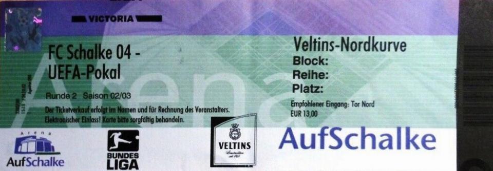 Bilet z meczu Schalke 04 Gelsenkirchen - Legia Warszawa 0:0 (14.11.2002).