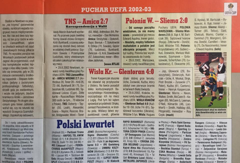 TNS Llansantffraid FC - Amica Wronki 2:7 (19.08.2002) Piłka Nożna