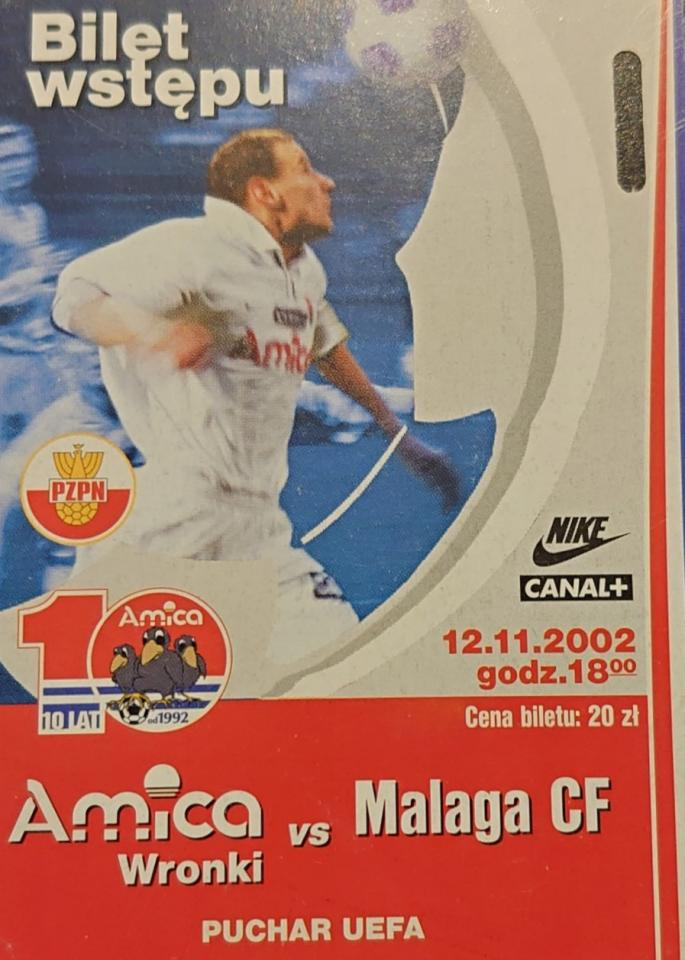 Amica Wronki - Malaga CF 1:2 (12.11.2002) Bilet