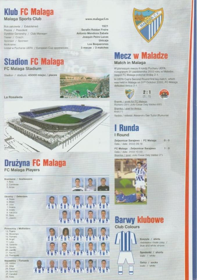Amica Wronki - Malaga CF 1:2 (12.11.2002) Program meczowy