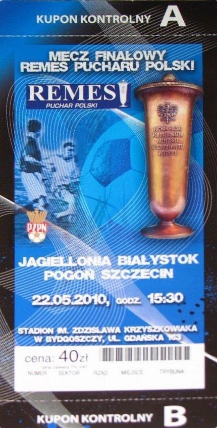 Bilet z meczu Pogoń Szczecin - Jagiellonia Białystok 0:1 (22.05.2010).
