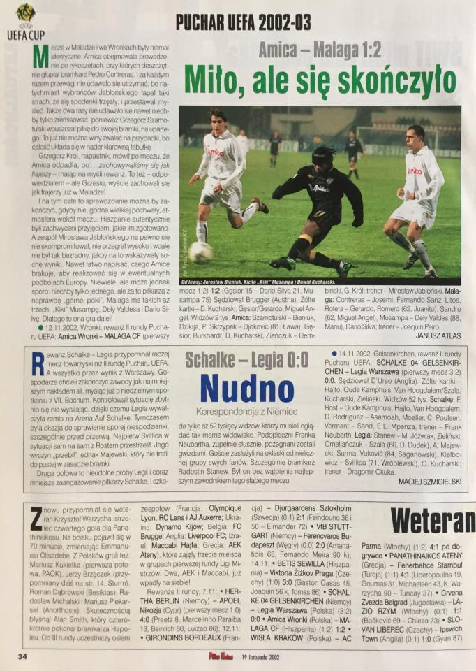 Piłka Nożna po meczu Schalke 04 Gelsenkirchen - Legia Warszawa 0:0 (29.10.2002)