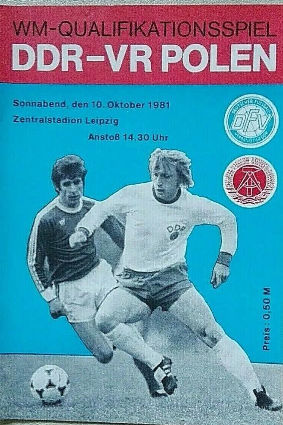 program z meczu NRD - Polska (10.10.1981)