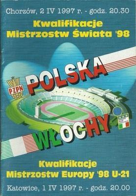 Program meczowy Polska - Włochy 0:0 (02.04.1997)