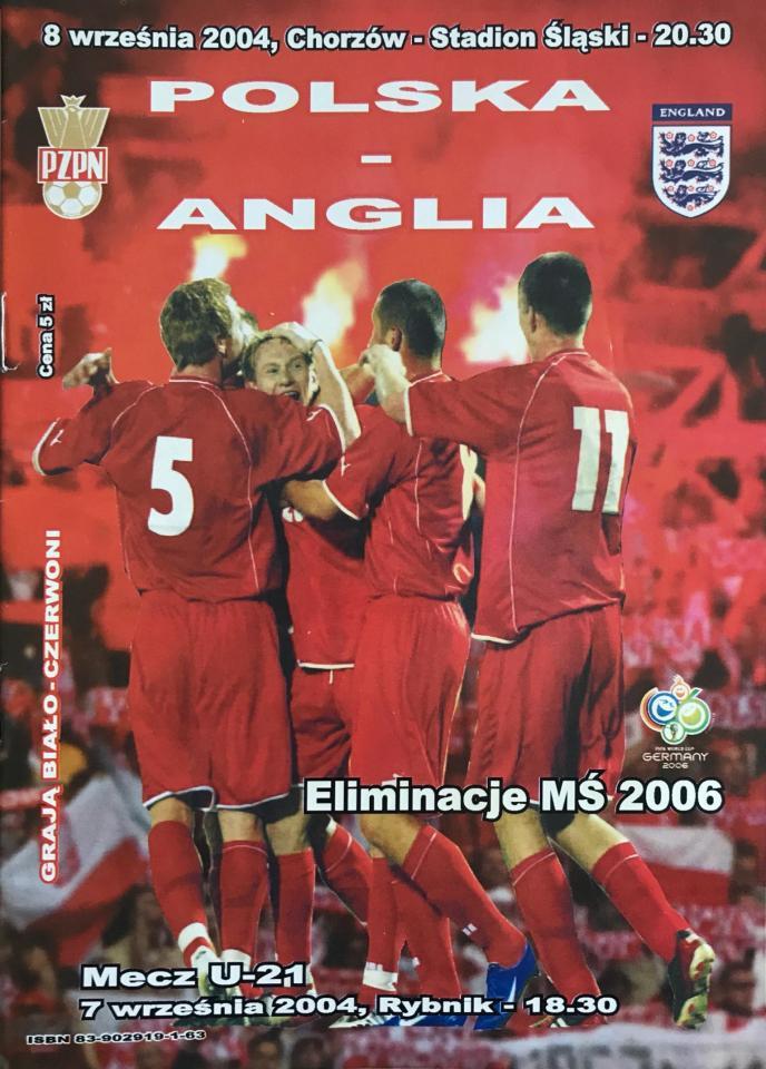 Program meczowy Polska - Anglia 1:2 (08.09.2004).