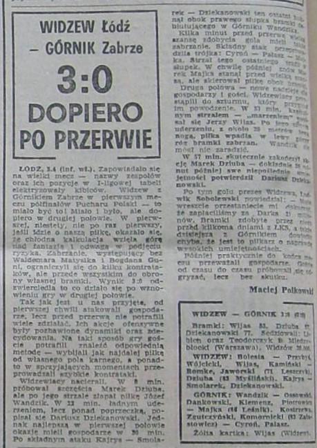 Widzew Łódź - Górnik Zabrze 3:0 (03.04.1985) Przegląd Sportowy