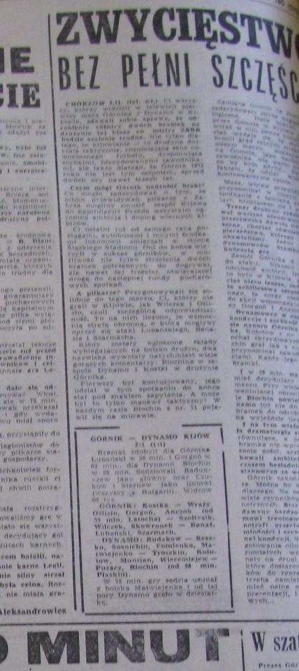 Przegląd Sportowy po Górnik Zabrze - Dynamo Kijów 2:1 (08.11.1972)