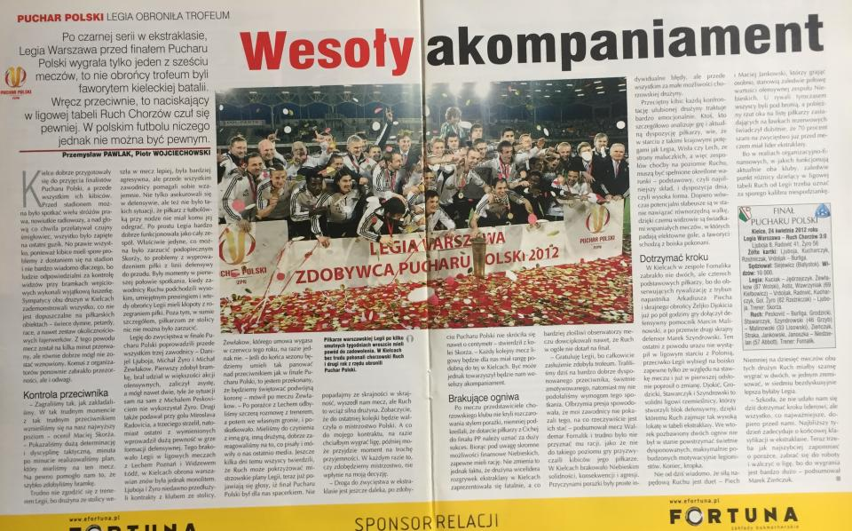 Piłka Nożna po Legia Warszawa - Ruch Chorzów 3:0 (24.04.2012)