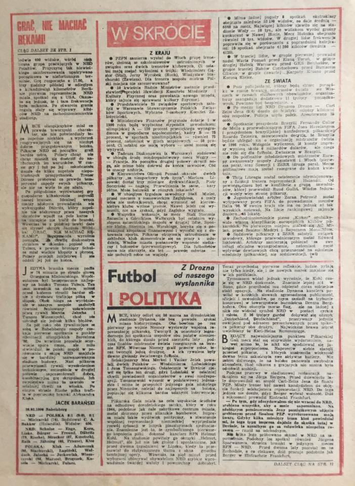 Piłka Nożna po NRD - Polska 0:1 (28.03.1990) 2
